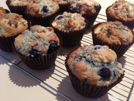 blueberry & apple muffins